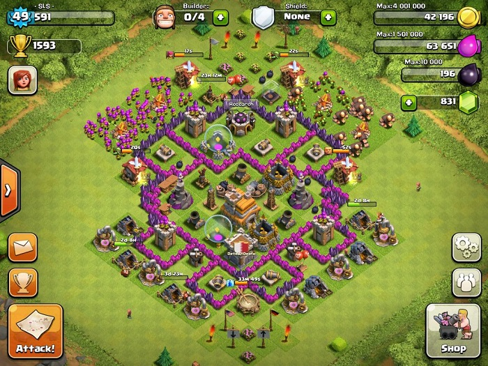 Top Clash of Clans Defense Strategy Town Hall Level 7 Layout 6