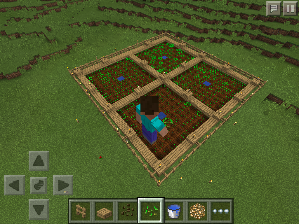 MCPE how to grow wheat, carrots, potatoes - farm layout