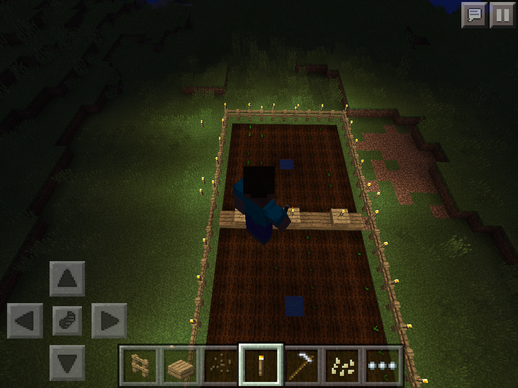 MCPE pumpkin and melon farm layout