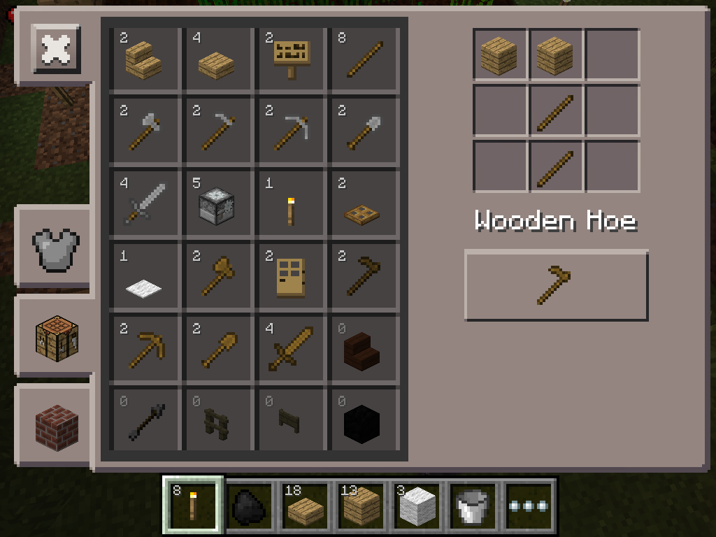 basic farm - crafting wooden hoe