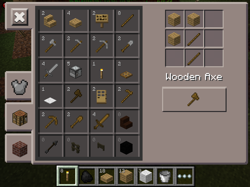 MCPE farming - wooden axe
