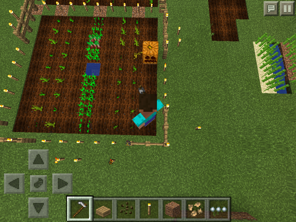 MCPE melon and pumpkin farm first layout